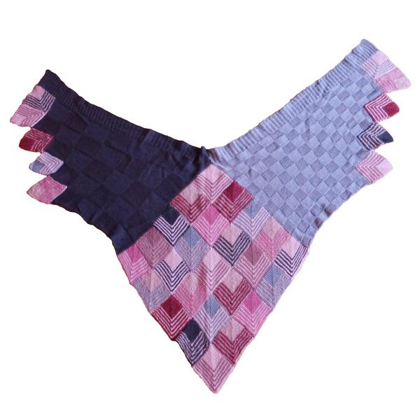 Dominostrikket sjal med små tern rosa 600x600 2