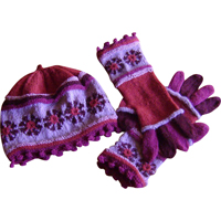 hue og handsker med møllehjul - rød