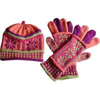 hue og handsker med stjerner